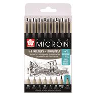 Набор капиллярных ручек Pigma Micron 8 штук (6 Micron+Brush+PN) черные в пластиковой упаковке, фото 1