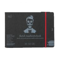 Скетчбук SM-LT Black authenticbook на резинке 165 г/м2 24,5x18,5 см 18л, черный сшивка, фото 1