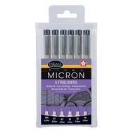 Набор капиллярных ручек PIGMA MICRON (0,05 мм, 0,1 мм, 0,2 мм, 0,3 мм, 0,5 мм и 0,8 мм) 6 шт, фото 1