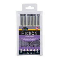Набор капиллярных ручек Pigma Micron (0,2 мм, 0,25 мм, 0,3 мм, 0,35 мм, 0,45 мм и 0,5 мм) 6 шт, фото 1