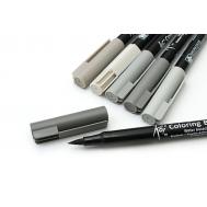 Набор маркеров акварельных Koi Brush Серые цвета 6 шт, фото 2