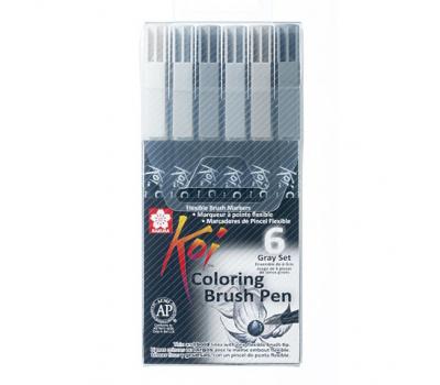 Набор маркеров акварельных Koi Brush Серые цвета 6 шт, фото 1