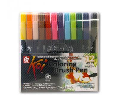 Набор маркеров акварельных Koi Brush 12 цветов, фото 1