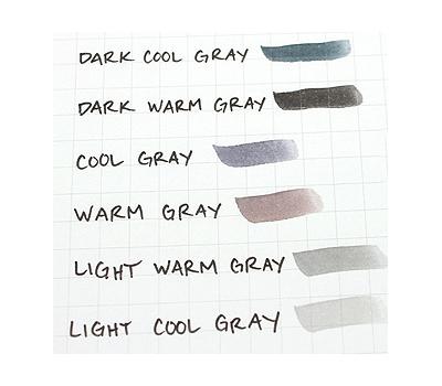 Набор маркеров акварельных Koi Brush Серые цвета 6 шт, фото 3