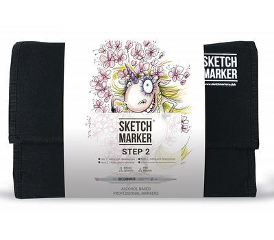 Набор маркеров SKETCHMARKER 24 Step 2 - Шаг 2 - набор для начинающих (24 маркера + сумка органайзер)