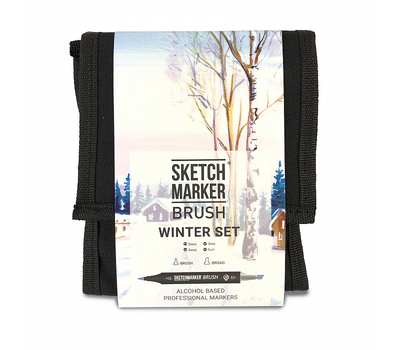Набор маркеров SKETCHMARKER BRUSH 12 Winter Set - Зима (12 маркеров + сумка органайзер), фото 1
